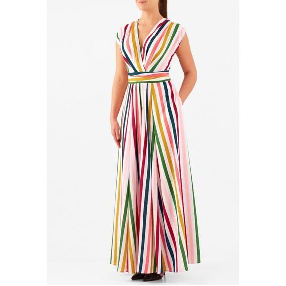 eshakti Dresses & Skirts - EShakti Bold Stripe Surplus Maxi Dress